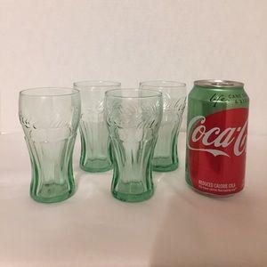 Coca-Cola green  glasses. Set of 4 New